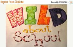 50% OFF SALE Wild About School Machine Applique by KCDezigns