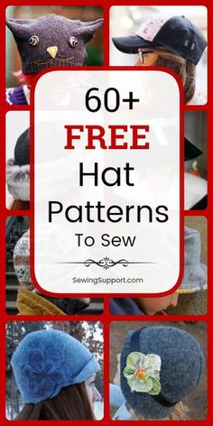 DIY Hats to sew: Over 60 free hat sewing patters tutorials and diy projects. Sew fabric hats for men women kids and babies. Instructions for how to make a fabric hat. Fleece Hat Pattern, Hat Patterns To Sew, Sewing Patterns Free, Free Sewing, Hat Pattern Sewing, Pattern Drafting, Free Pattern, Sewing Hacks, Sewing Tutorials
