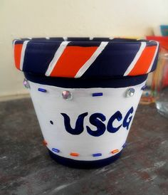 Decorative HandPainted Clay Flower Pot US Coast by kayglassdesigns, $8.00