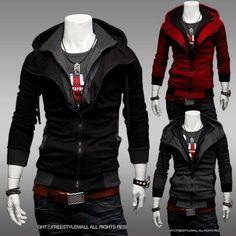 Men's COOL Assassins Creed Cosplay Zip Sweater Hoodie Long Sleeve Jacket Coats