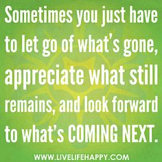 Sometimes you just have to let go of what's gone, appreciate what still remains, and look forward to what's coming next. by deeplifequotes, via Flickr