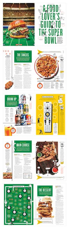 A Food Lover's Guide to the Super Bowl - Bon Appetit - Alaina Sullivan - Editorial magazine layout Editorial Design, Editorial Layout, Food Magazine Layout, Magazine Layout Design, Newspaper Layout, Newspaper Design, Graphic Design Layouts, Brochure Design, Design Posters