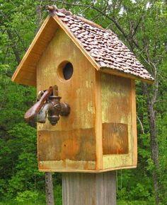 Salvage birdhouse with antique bar spigot perch recycledbirdhouse.com