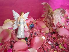 Flowers and Fairies Sensory Tub - The Imagination Tree (white rice, pink rice, sequins, fairies, fabric flower petals)
