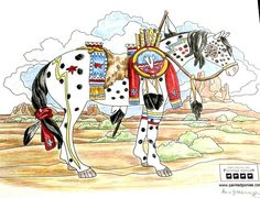 """""""War Pony"""" coloring page by Ann Yarbrough. Medium: Colored Pencils"""