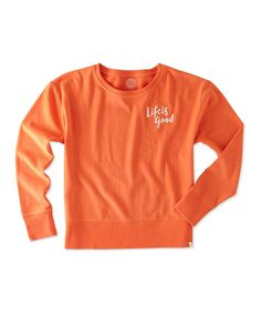Take a look at this Coral Orange 'Life Is Good' Go-To Crewneck Sweatshirt today!