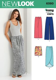 Comfortable, casual, AND easy to sew! Pattern features pull on bottom pieces including floor length or high low draped mock wrap skirts, short skirt, and wide leg pants. DIY with New Look 6380.