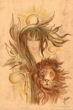 """THE LEO"" - Protective Angel for Zodiac Sign by Anna Miarczynska Moon Astrology, Astrology Zodiac, Horoscope, Leo, Zodiac Art, Zodiac Signs, Canvas Prints, Framed Prints, Large Prints"
