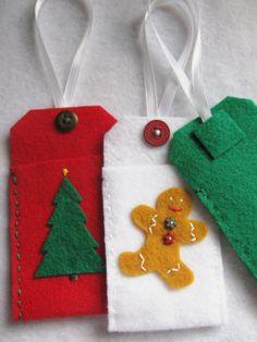 Felt Christmas Gift Card Holder Ornament Tags