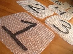 Bubble wrap hopscotch! my kids would LOVE this!