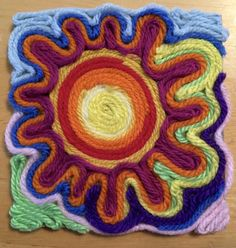 Mexican Sun Huichol Yarn Painting Art Lesson