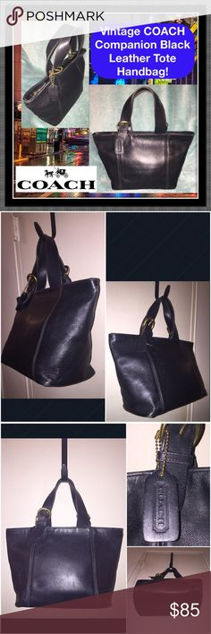 "Vtg COACH Companion Black Leather Tote Handbag! Vintage COACH Companion Black Leather Satchel Tote Handbag! Features: 100% authentic, glove tanned cowhide leather, double handles, brass hardware, 5 1/2"" hand clearance, unlined interior, one int slip pocket, one int zip pocket, COACH creed & serial no 4133 & COACH leather hang tag. Measures 8 1/2"" high x 13"" across (top), 9"" across (bottom) x 5"" W (bottom/base width). VG condition. Offers welcomed! Coach Bags"