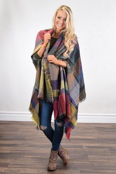 Pink & Purple Poncho Scarf – The Pulse Boutique