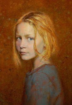 Artist: Seth Haverkamp, oil on panel {contemporary figurative artist blonde female head girl face portrait cropped painting #loveart} <3 sethhaverkamp.com