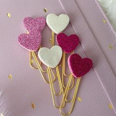 6 Valentine Paper Clips for Planners Filofax Gillios or