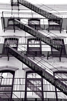 Fire escape and leading lines - New York City Black and White photo by AspiringImages