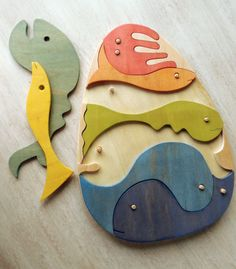 Wood big fish puzzle toy Montessori material by pirondesign
