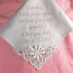 Gift for Mother of the Bride Custom by CoutureWeddingHankie, $23.00