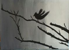 Bird on a branch - 1st ever acrylic painting