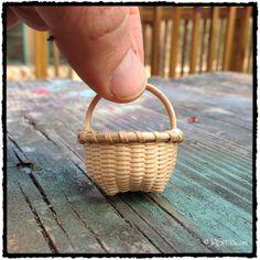 "1"" miniature black ash Shaker cat head basket."