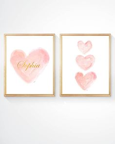 Blush and Gold Nursery Decor, Pink and Gold Nursery, Set of 2 - 8x10 Watercolor Prints, Personalized, New Baby Girl Gift, Gold Name, Gold