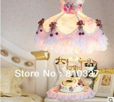 Elegant style lace rose flower 38cm  lamp shade with a ceramic telephone  table lamp light best wedding gift free shipping US $199.99