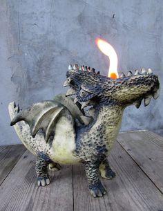 Ceramic dragon oil lamp