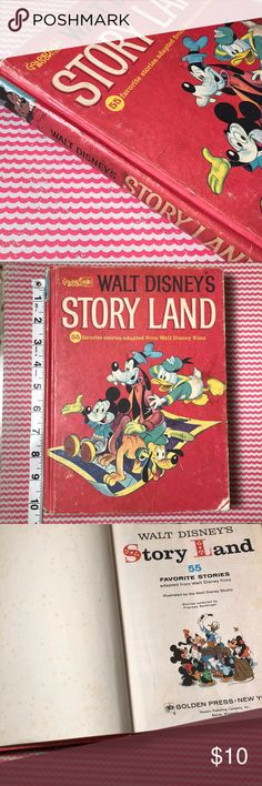 Vintage Walt Disney Story Land 1962 Walt Disney's Story Land is a vintage children's classic from 1962. Includes 55 stories. Fair condition with expected wear to pages and edges. Some discoloration on front, back cover and a few front and back pages. Strong binding.  Copyright: 1962 318 Pages 10.25in x 7.5in  This was a well loved book!! Other