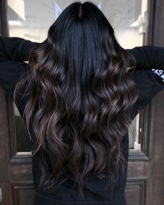Coffee Hair Color, Espresso Hair Color, Dark Brunette Balayage Hair, Black Hair To Balayage, Black Hair With Highlights, Black Hair With Brown Highlights, Black Brown Hair, Hair Color For Black Hair, Hair Looks