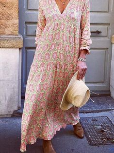 Type:Floral,AbstractSleeve Type:Long SleeveElasticity:Slightly stretchyThickness:LightweightMaterial:PolyesterNeckline:V Length X Long Sleeve Maxi, Maxi Dress With Sleeves, Summer Holiday Dresses, Summer Dresses, Vacation Dresses, Beach Dresses, Amai, Dresser, Floral Sundress