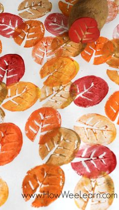Fall leaf potato stamping!! Such a great craft for kids of all ages! This one was great for big kids, preschoolers, and toddlers.