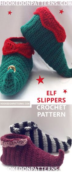 Elf Slipper Shoes Crochet Pattern. Create fun curly toed slipper shoes for all the family. Sizes given from toddler size all the way up to men's largest standard size! These make fab Christmas presents!