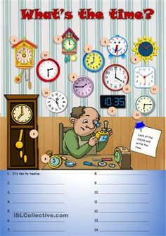 A simple worksheet for elementary students to revise the time. Students look at the clocks and write the time in the correct place in the chart below. Optional pre-task (ora work): point to some clocks and ask your pupils to say the time; or say a time and pupils must find the correct clock by saying the number...Hope you like it! - ESL worksheets