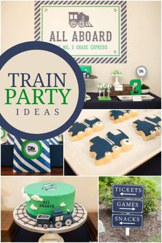 Can you catch the birthday party express for this boyÂ's train themed celebration? ItÂ's full of navy and green decorations, a choo choo birthday cake and engineer hat party favors!