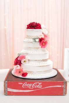 Simple white four tier semi naked wedding cake adorned with pink and red blooms: The Faithful Little Cupcake; Mon Cheri Bridal, Vintage Curls, Outdoor Ceremony, Let Them Eat Cake, Beautiful Cakes, Cake Toppers, Real Weddings, Vintage Inspired, Wedding Cakes