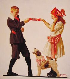 """""""The Party Favour"""" by Norman Rockwell, Date: 1919 ・ Style: Regionalism ・ Genre: genre painting"""