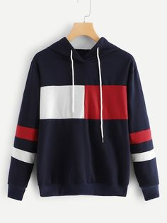 Shop Colorblock Drawstring Hoodie at ROMWE, discover more fashion styles online. Stylish Hoodies, Comfy Hoodies, Sweatshirts, Cute Fall Outfits, Cool Outfits, Sweater Shirt, T Shirt, Clothing Sketches, Smart Casual Outfit