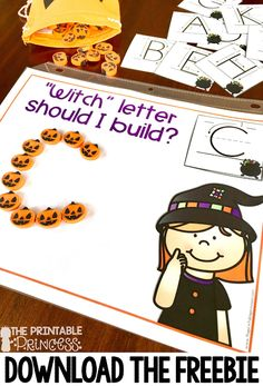 You're going to love the great Halloween activities for Kindergarten included at this post! You'll find great Halloween book recommendations for young learners, letter sound practice, uppercase & lowercase letter practice, counting numbers, letter formati Fall Preschool, Preschool Literacy, Halloween Crafts For Kindergarten, Halloween Activities For Preschoolers, Halloween Books For Kids, Kindergarten Centers, Kindergarten Reading, Beginning Sounds Kindergarten, Syllables Kindergarten