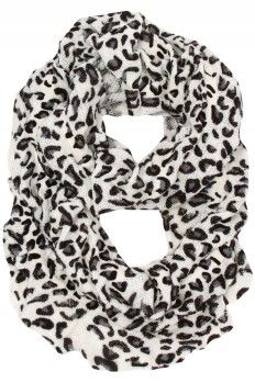 White Leopard Ruffle Scarf