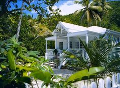 Private white sand beachfront cottage for rental on St. Beach Cottage Style, Coastal Cottage, Beach House Decor, Small Beach Cottages, Luxury Cottages, Caribbean Homes, Hawaiian Homes, Vacation Rentals By Owner, Dream Beach Houses