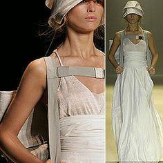 Moda: Sustentabilidade e preocupação socioambiental, vestido da grife Osklen feito de tecido ecológicamente correto de produção orgânica, sem agrotóxicos.