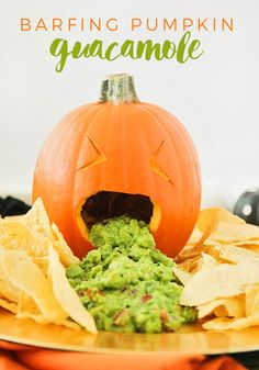 Get some good laughs at your next Halloween party with this barfing pumpkin guacamole! via @somewhatsimple