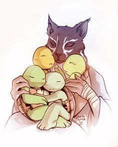 Just a giant rat father and his four teenage mutant ninja turtle sons. Ninja Turtles Art, Baby Turtles, Teenage Mutant Ninja Turtles, Teenage Ninja, Tmnt Comics, Anime Comics, Gi Joe, Turtle Tots, Cinema
