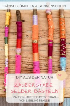 Magische Zauberstäbe selber basteln – DIY Making magic wands yourself – DIY Upcycled Crafts, Cute Diy Crafts, Upcycled Home Decor, Upcycled Furniture, Repurposed, Diy For Kids, Crafts For Kids, Arts And Crafts, Diy Upcycling