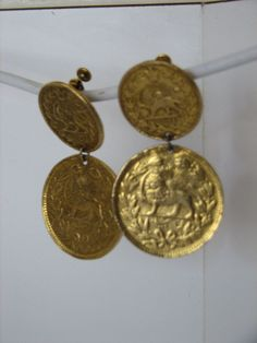 Vintage Clip Earrings  Gold Plated Coins by LillysTreasureChest, $9.00