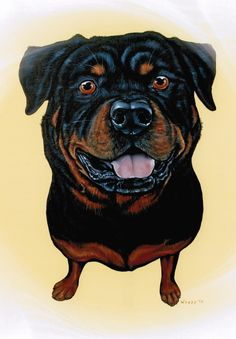 Rottweiler Rottweiler Art Rottweiler Print от ArtbyWeeze