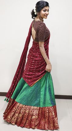 Lehnga Dress 681450987353952625 You are in the right place about fancy blouse designs Here we offer Lehenga Saree Design, Half Saree Lehenga, Pattu Saree Blouse Designs, Lehnga Dress, Saree Blouse Patterns, Lehenga Designs, Designer Party Wear Dresses, Indian Designer Outfits, Indian Outfits