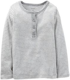 Carters Baby Girls Striped Henley Baby  Gray  3 Months >>> Be sure to check out this awesome product.