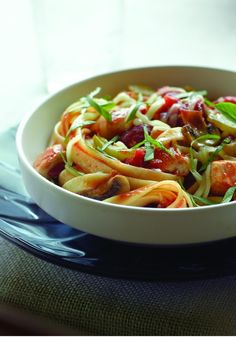 ... pasta with peppers, tomatoes and mushrooms. A healthy living recipe