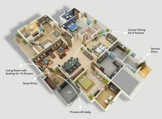 Stylish 50 Four 4 Bedroom Apartmenthouse Plans House Apartments And Modern 4 Bedroom House Floor Plans Pics - House Plan Ideas Four Bedroom House Plans, 3d House Plans, Modern House Plans, Home Map Design, Home Design Plans, House Design, 4 Bedroom Apartments, Luxury Apartments, Dormitory Room